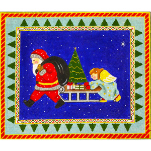 Santa and Helper Angel Hand Painted Needlepoint Canvas