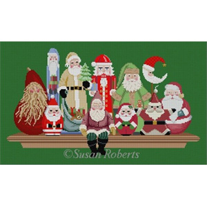 Susan Roberts Needlepoint Designs - Hand-painted Canvas - Santa Collection