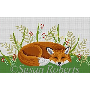 Susan Roberts Needlepoint Designs - Hand-painted Canvas -  Sleeping Fox