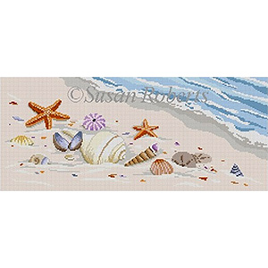 Susan Roberts Needlepoint Designs - Hand-painted Canvas -  Sea Shells by the Shore
