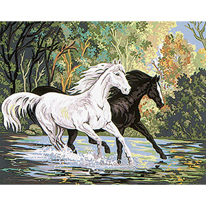 Black and White Horses  - Collection d'Art Needlepoint Canvas
