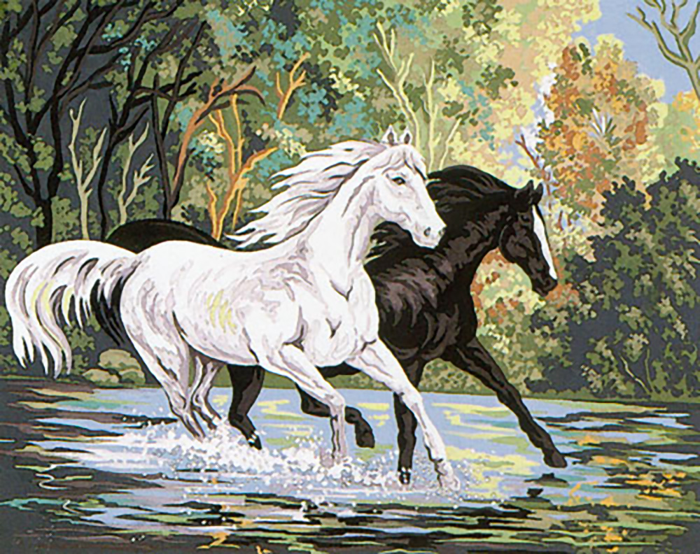 Needlepoint Kit White horse 7.9x9.8 20x25cm printed canvas cod.326
