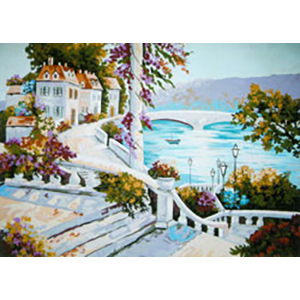 Beautiful View from the Terrace  - Collection d'Art Needlepoint Canvas