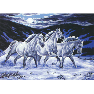 Midnight Stallions  - Collection d'Art Needlepoint Canvas