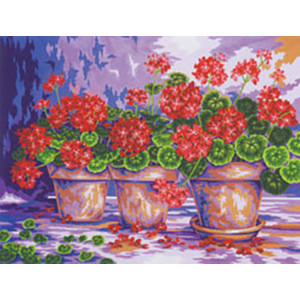 3 Pots of Geraniums  - Collection d'Art Needlepoint Canvas