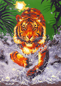 Tiger Charge  - Collection d'Art Needlepoint Canvas