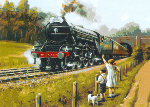 The Train (The Flying Scotsman)  - Collection d'Art Needlepoint Canvas