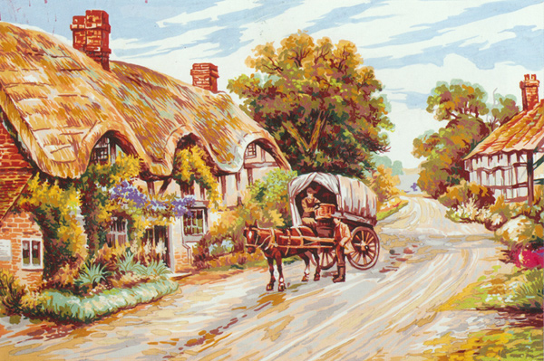 Thatched Cottage Lane - Collection d'Art Needlepoint Canvas