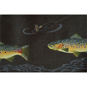 Brown Trout and Dry Fly - Hand Painted Needlepoint Canvas from dede's Needleworks
