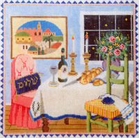 Shabbat - Stitch Painted Needlepoint Canvas from Sandra Gilmore