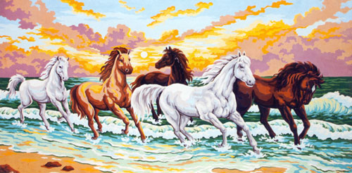 Horses in the Surf  - Collection d'Art Needlepoint Canvas