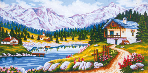 On the Mountain  - Collection d'Art Needlepoint Canvas