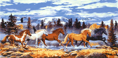Mountain Horses  - Collection d'Art Needlepoint Canvas