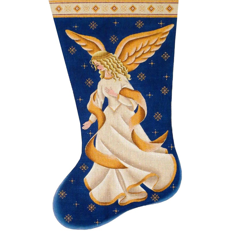 Nativity Angel Hand Painted Stocking Canvas from Rebecca Wood