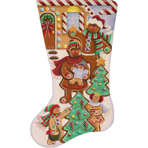Gingerbread Family Hand Painted Stocking Canvas from Rebecca Wood