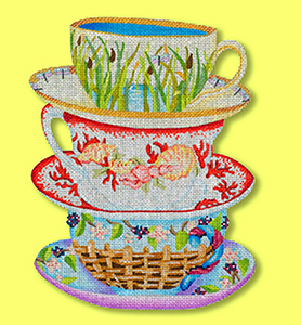 Collectors Tower of Teacups - Hand Painted Needlepoint Canvas from dede's Needleworks