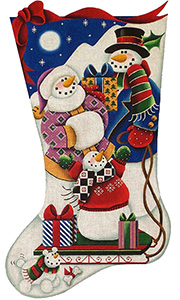 Snow Sledding Hand Painted Stocking Canvas from Rebecca Wood