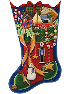 A Boy's Stocking Hand Painted Stocking Canvas from Rebecca Wood