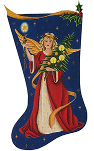 Victorian Angel Hand Painted Stocking Canvas from Rebecca Wood