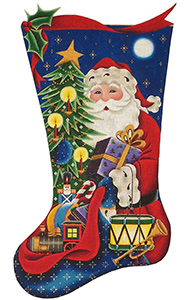 Santa's Gifts (Boy) Hand Painted Stocking Canvas from Rebecca Wood
