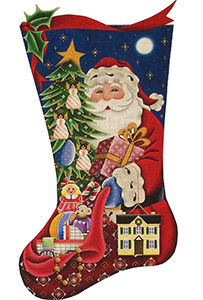 Santa's Gifts (Girl) Hand Painted Stocking Canvas from Rebecca Wood