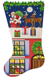 Christmas Night Hand Painted Stocking Canvas from Rebecca Wood