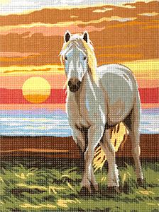 Royal Paris Needlepoint White Horse Canvas