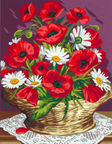 Royal Paris Needlepoint Panier de Coquelicots