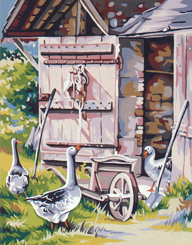 Royal Paris Needlepoint La Grange aux Oies (Barn and Geese)