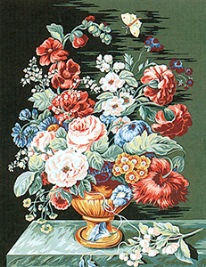 Margot Creations de Paris Needlepoint (Bouquet d'Ete) Summer Bouquet Medium Needlepoint Canvas