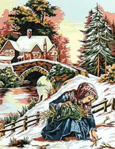 Margot Creations de Paris Needlepoint (Scene Hivernale) Winter Scene Medium Needlepoint Canvas