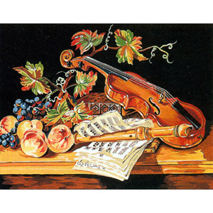 Margot Creations de Paris Needlepoint (Nature Morte au Violon) Still Life and Violin Medium Needlepoint Canvas