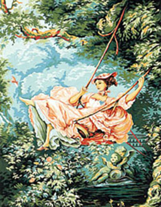 Margot Creations de Paris Needlepoint (L'Escarpolette) The Swing by J.H. Fragonard Medium Needlepoint Canvas