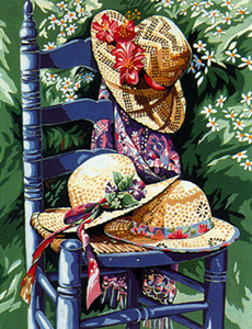 Margot Creations de Paris Needlepoint (La Chaise aux Chapeaux) Chair with Hat Medium Needlepoint Canvas