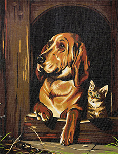 Margot Creations de Paris Needlepoint Hound and Cat