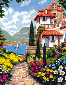 Margot Creations de Paris Needlepoint (La Villa Fleurie) Villa Flowers Medium Needlepoint Canvas