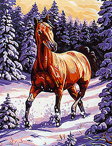 Margot Creations de Paris Needlepoint (Cheval Dans la Neige) Horse Dance in the Snow Medium Canvas