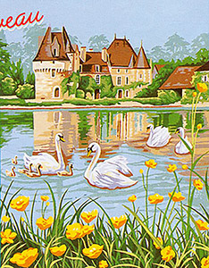 Margot Creations de Paris Needlepoint - Les Cygnes du Chateau (The Swans of the Chateau)
