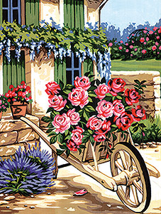 Margot Creations de Paris Needlepoint - Medium Needlepoint Canvases - La Brouette de Roses