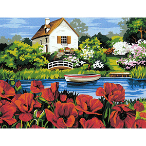 Margot Creations de Paris Needlepoint - Poppies on the Bayou