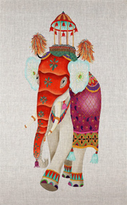 Elegant Elephant Banner - Hand Painted Needlepoint Canvas from dede's Needleworks