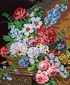Margot Creations de Paris Needlepoint - Medium Needlepoint Canvases - Concerto Floral (Floral Concert)