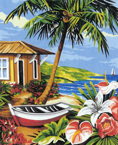 Margot Creations de Paris Needlepoint - Medium Needlepoint Canvases - Boat and Beach House