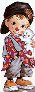 Royal Paris - Small Canvases - Little Boy Clown with Kitty