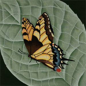 Giant Old World Monarch Butterfly - Hand Painted Needlepoint Canvas from dede's Needleworks