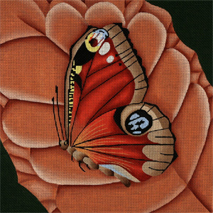 Giant Peacock Butterfly on Rust  Leaf - Hand Painted Needlepoint Canvas from dede's Needleworks