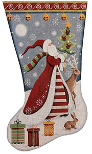Folk Santa Hand Painted Stocking Canvas from Rebecca Wood