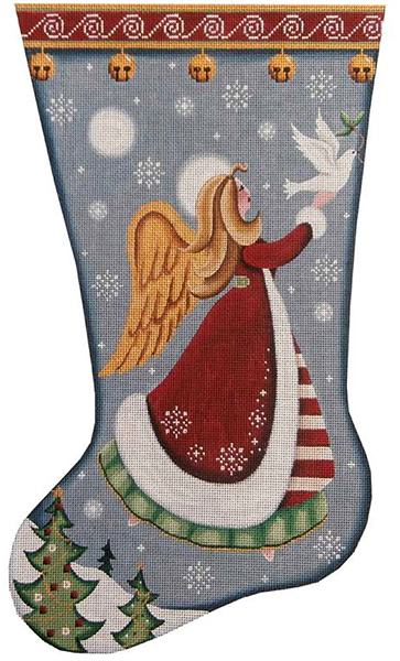 Folk Angel of Peace Hand Painted Stocking Canvas from Rebecca Wood