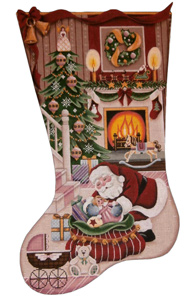 Christmas by the Fire Hand Painted Stocking Canvas from Rebecca Wood