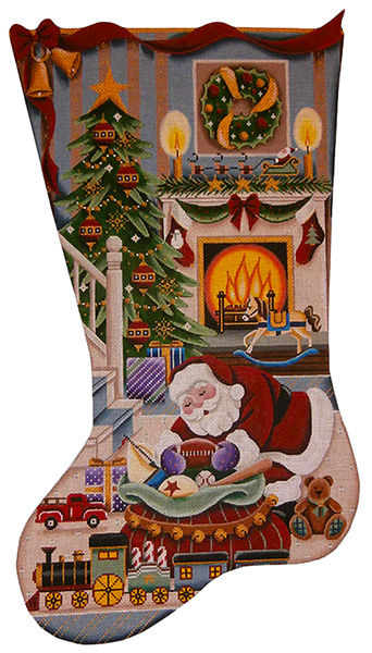 Christmas by the Fire Boy) Hand Painted Stocking Canvas from Rebecca Wood